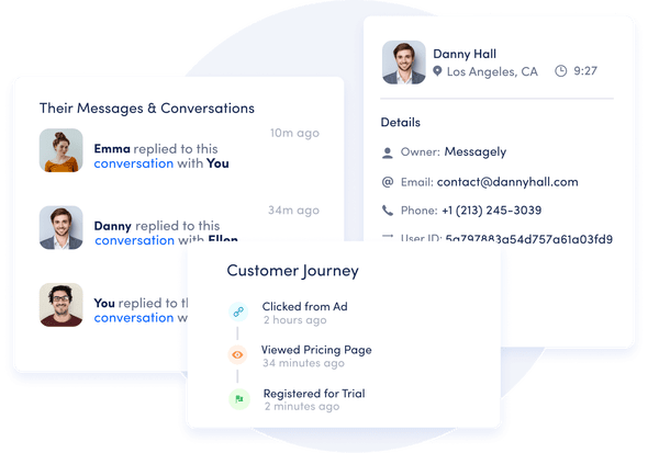 Messagely customer messaging platform with context