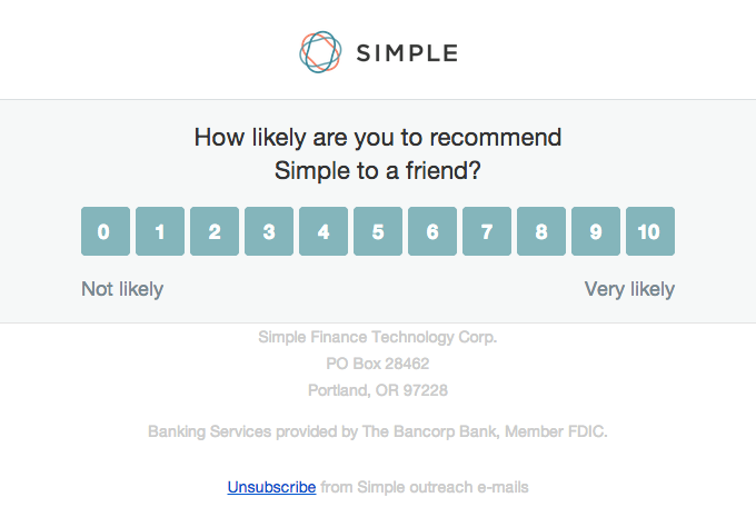 NPS Example by Simple (Source: ReallyGoodEmails)