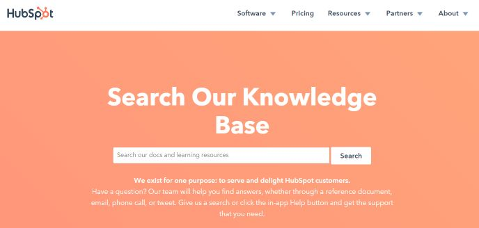 HubSpot provides a large knowledge base