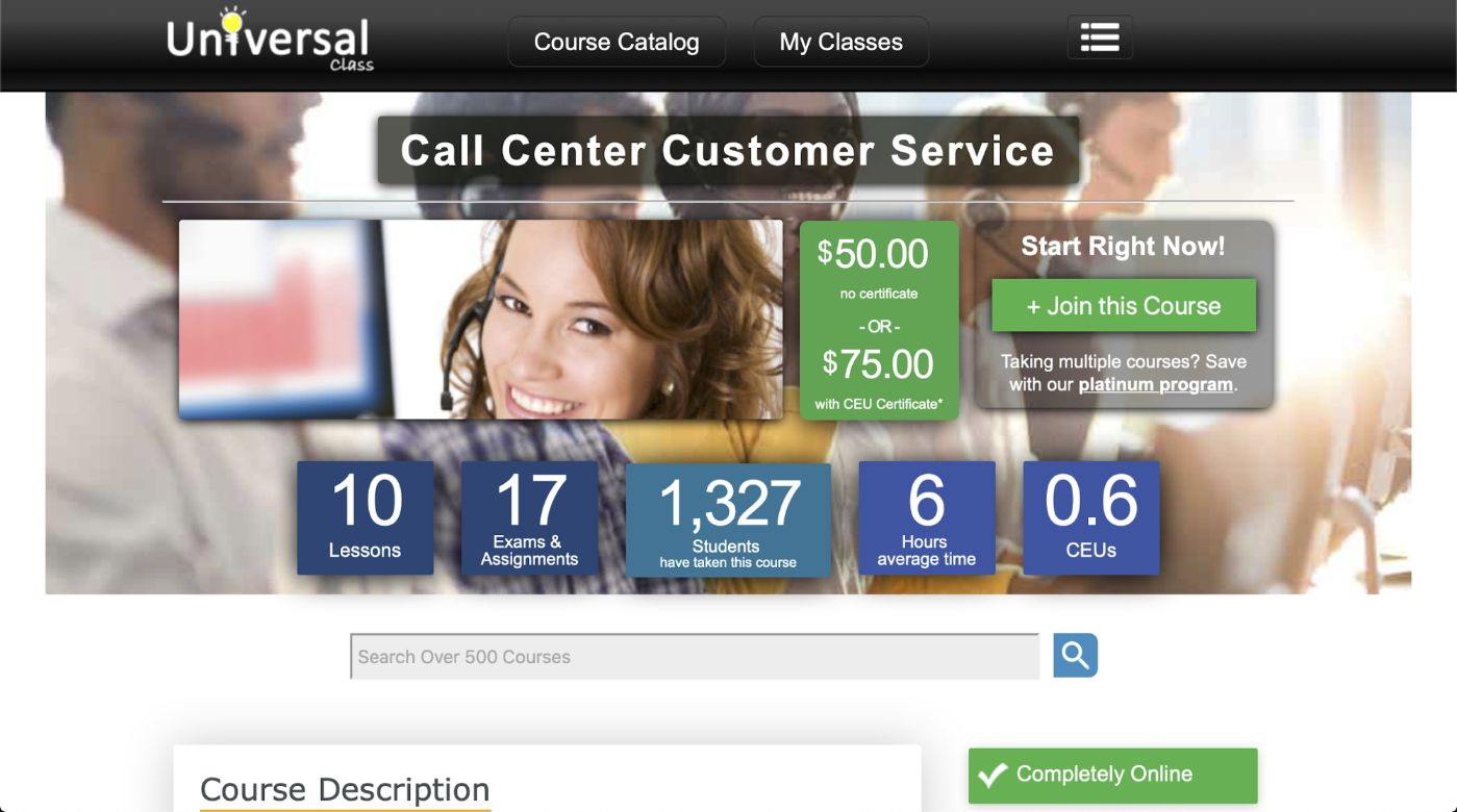 Call Center Customer Service - Universal Class