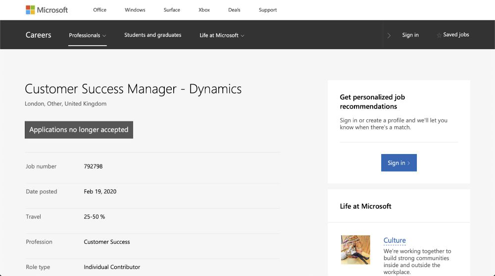 Customer Success Manager: Microsoft