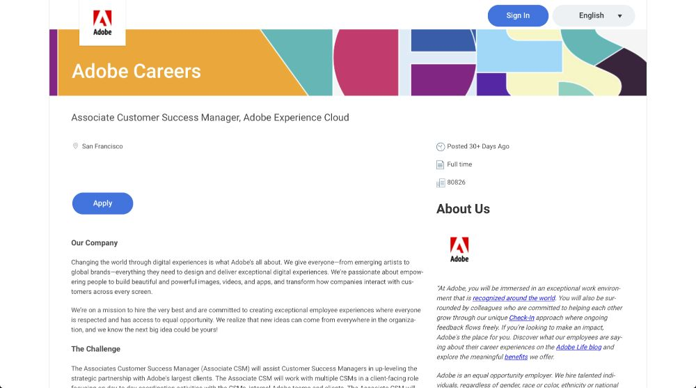 Associate Customer Success Manager - Adobe