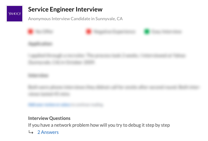 Yahoo Service Engineer Interview