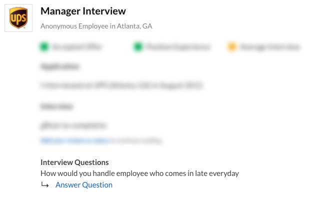 UPS Manager Interview