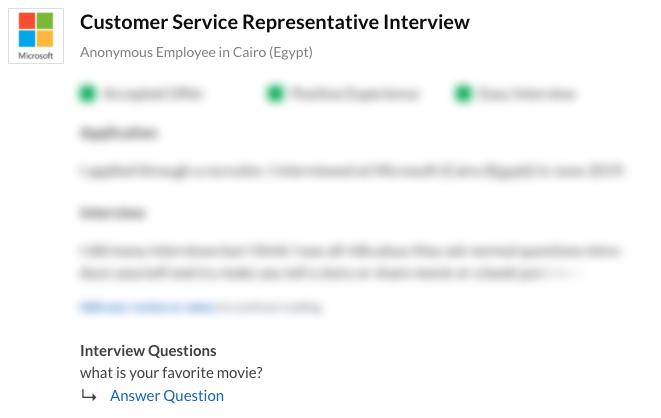 Customer Service Representative Interview
