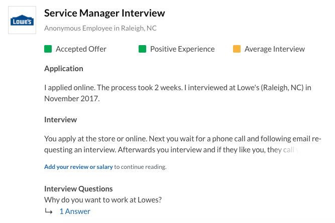 Service Manager Interview