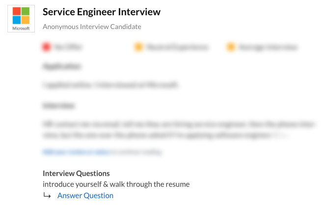 Service Engineer Interview