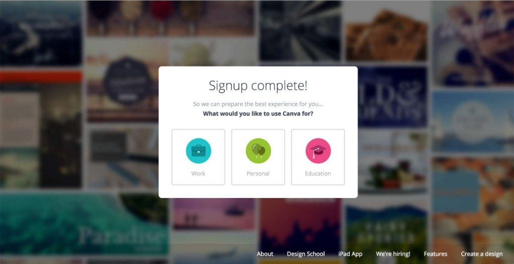 Canva segments its users through simple user choices.