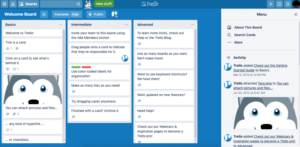 Trello's Welcome Board showcases its product, letting users interact and reach their aha moment themselves.