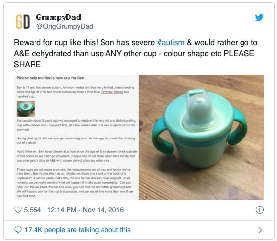 A desperate father asked Twitter for a blue plastic cup