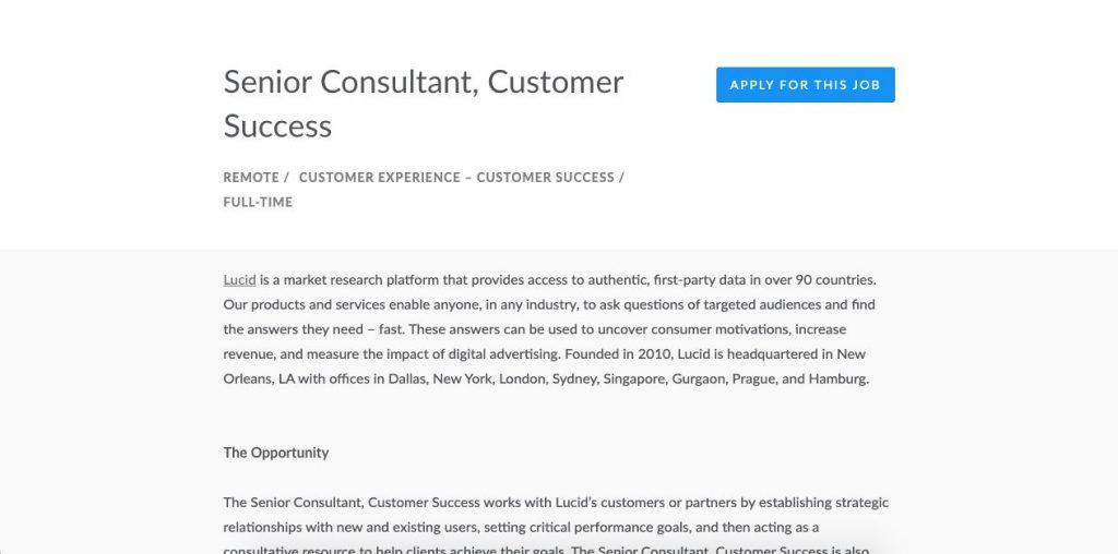 Customer Service Consultant Job Description