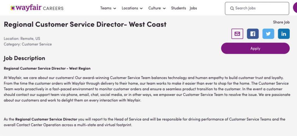 Customer Service Director Job Description