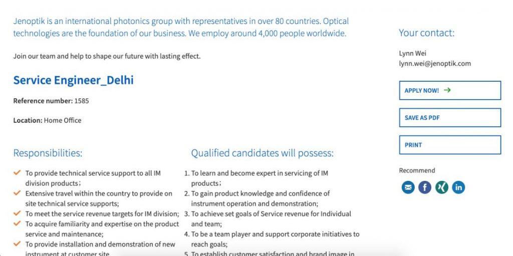 Customer Service Engineer Job Description