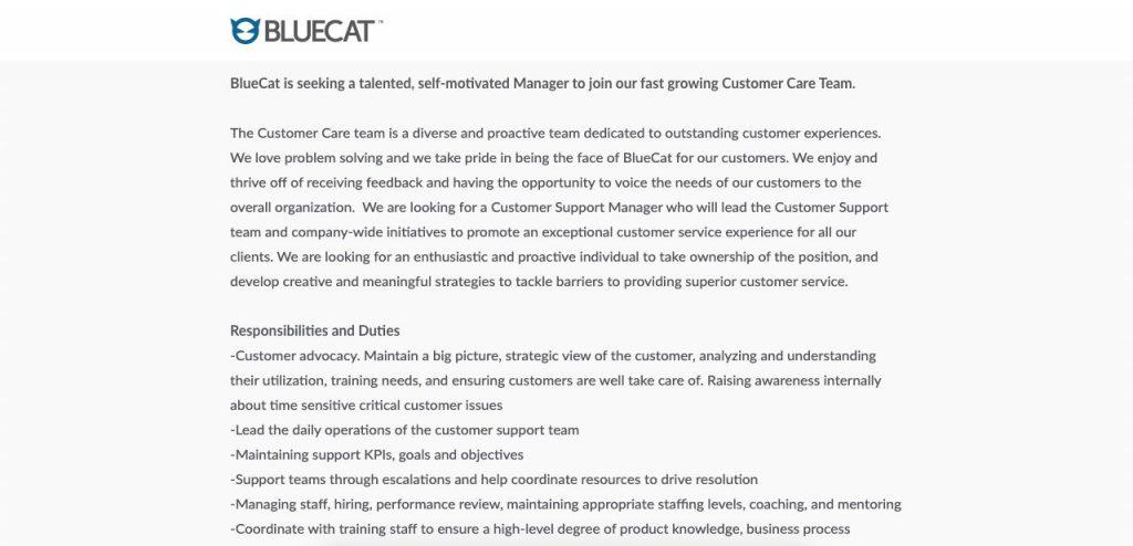 Customer Support Manager Job Description