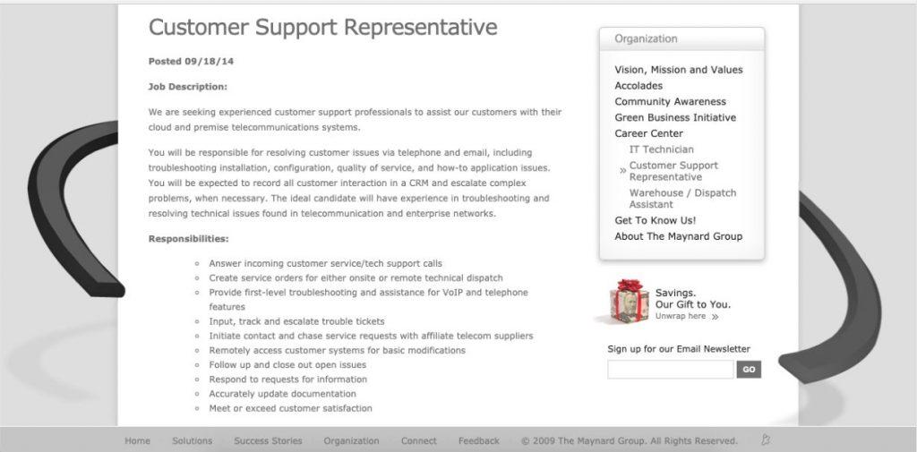 Customer Support Representative Job Description