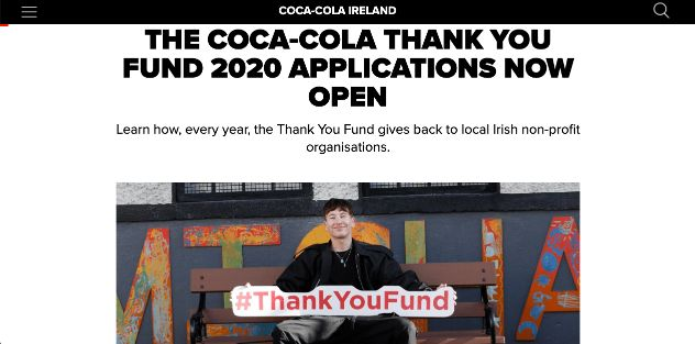 Coca-Cola establishes customer relations by supporting local causes.