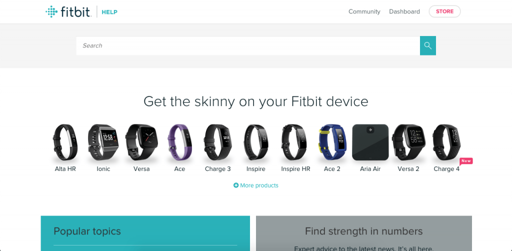 Fitbit's knowledge base provides users with the ability to learn in two different ways: by selecting their device, or by browsing through popular topics.