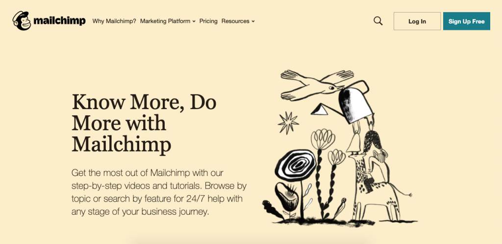 To help the user get the most out of the platform, MailChimp has a very comprehensive knowledge base.