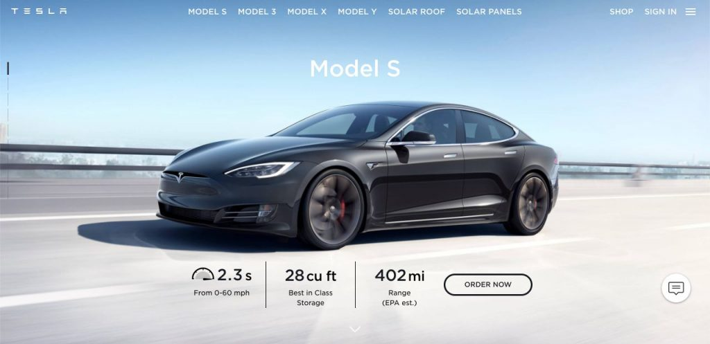 Instead of showing people the price of its vehicles, Tesla focus on showing the branding, quality and overall value.