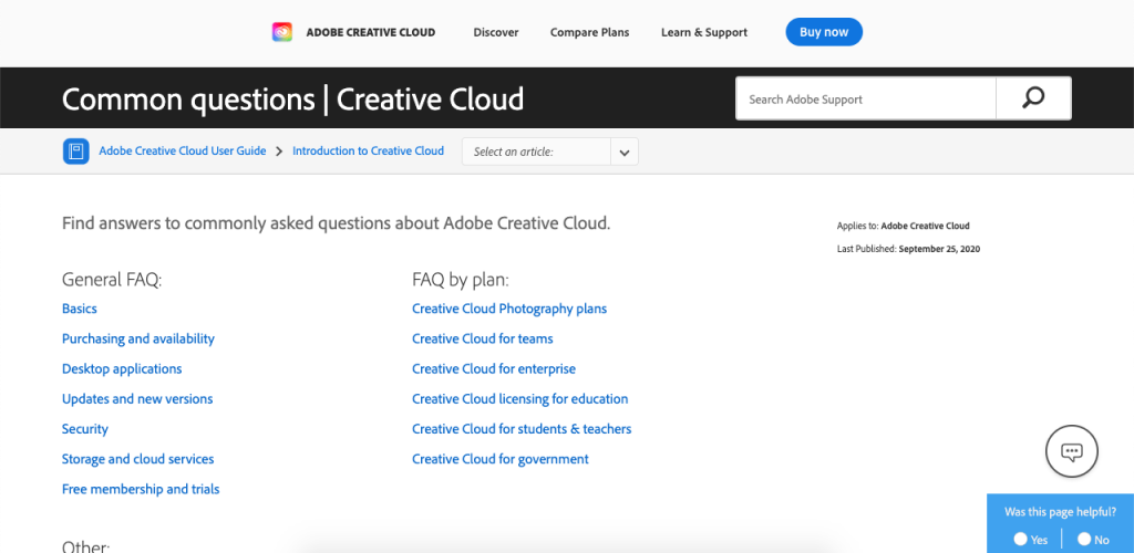 You can search through Adobe Creative Cloud's FAQ page in two different ways: by using the search bar or by using questions with drop-down answers.