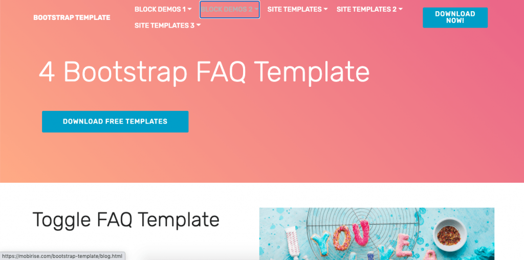 Bootstrap gives you four FAQ page templates for free to integrate into your site