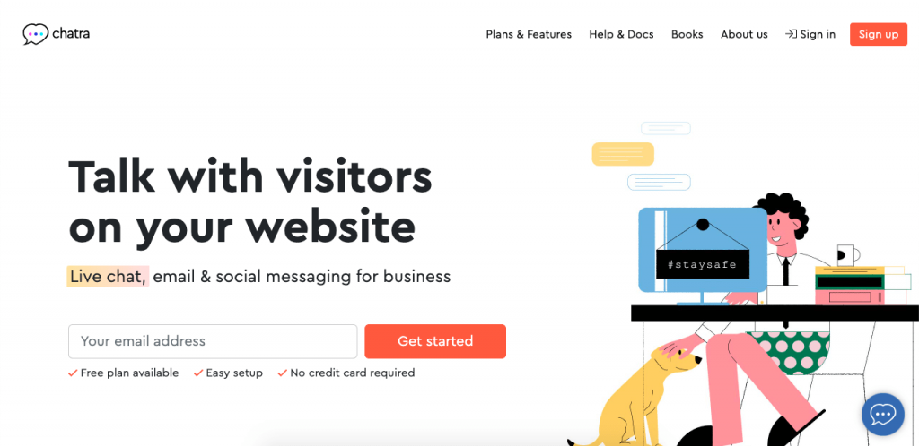 Chatra is one of the very few services that offer a free subscription with one agent, unlimited chats, and chat history.