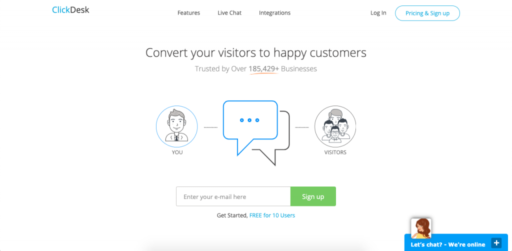 ClickDesk is also one of the few chat services to offer video chat services in its pro plan, which also includes post-chat surveys, reports, and chat history.