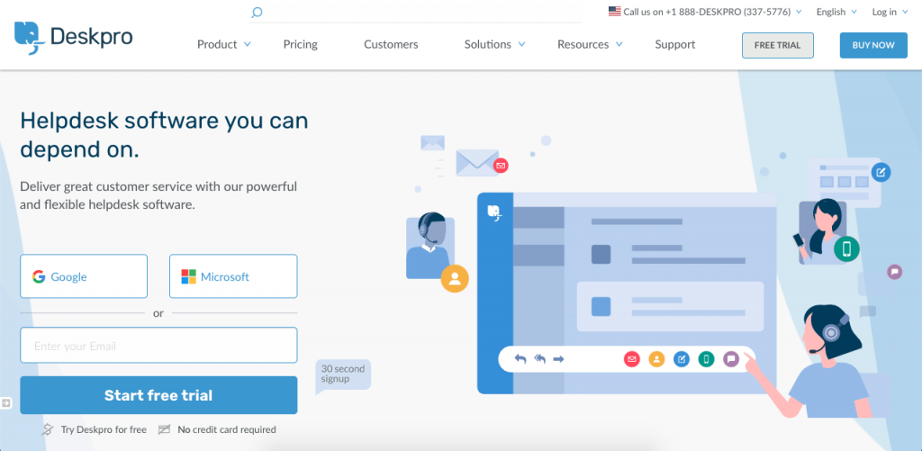 Deskpro is a multilingual customer service platform with quality call center capabilities