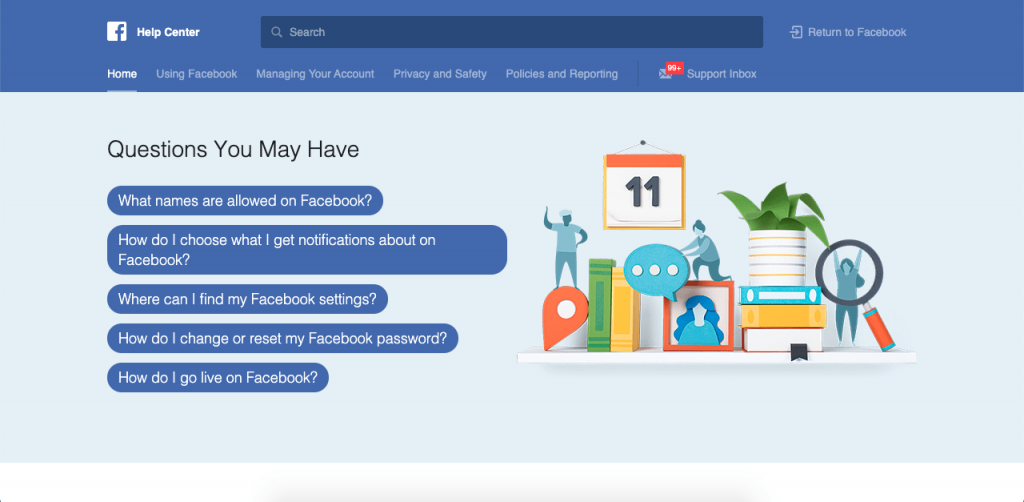 As the largest social media platform in the world, Facebook surprisingly starts its FAQ page with just five questions.