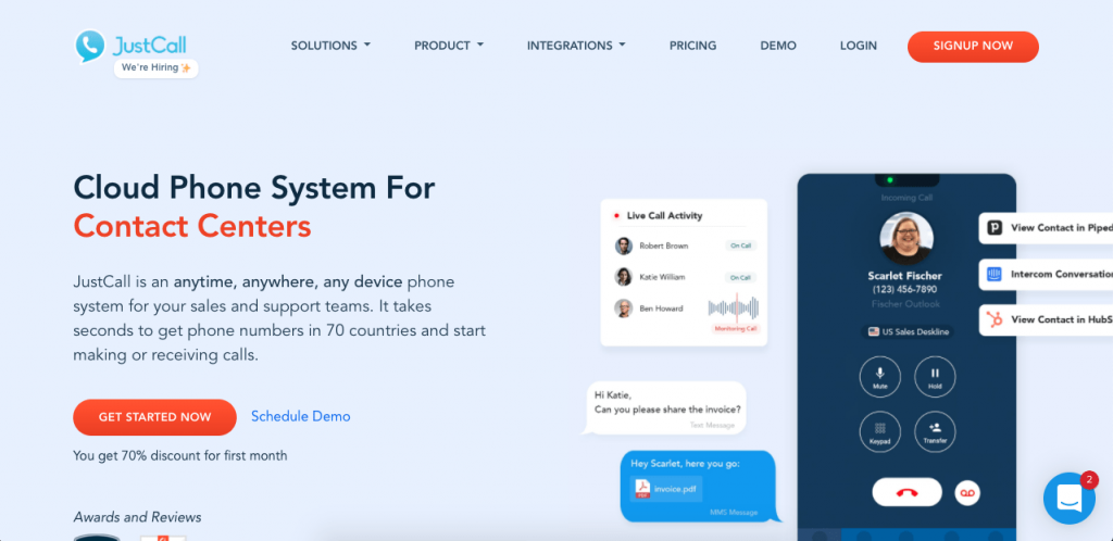 JustCall is an award-winning cloud phone system with support for phone numbers from 70 countries