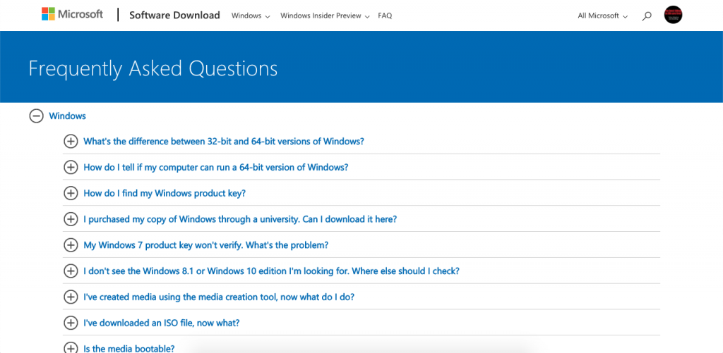 Microsoft's FAQ page is divided into Microsoft and Office drop-down menus to quickly locate answers to their questions