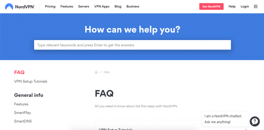 NordVPN uses its FAQ page to answer questions that potential clients may have