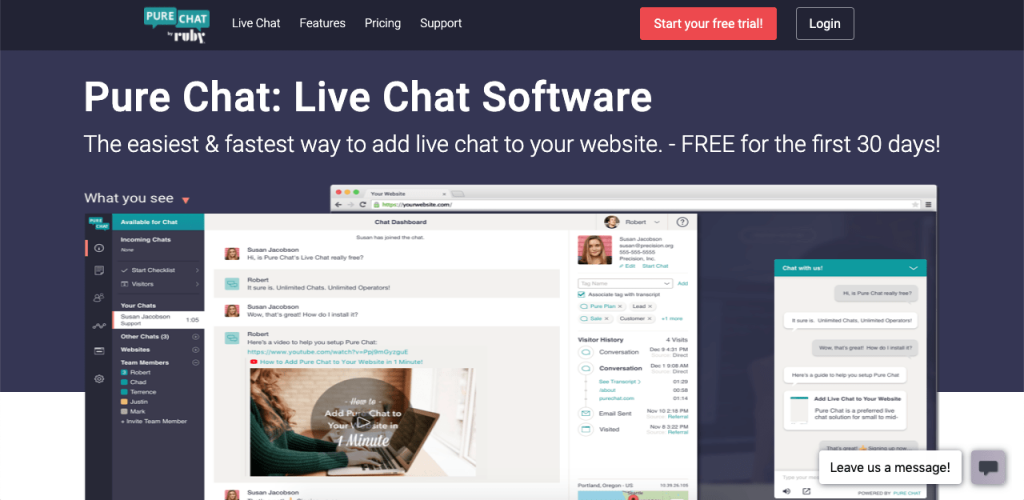Pure Chat is another platform with a generous free plan. It offers up to three agent seats with unlimited chats and full chat customization, making it perfect for smaller businesses.