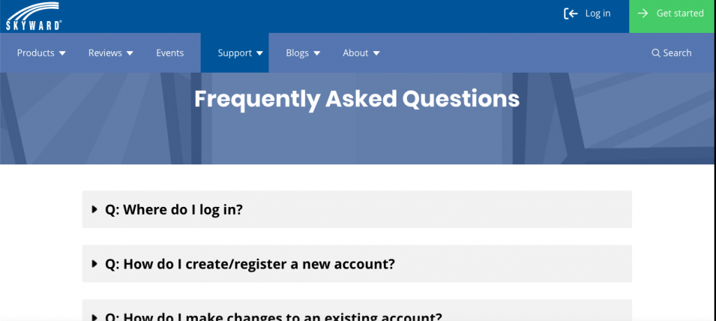 Skyward only answers five questions on its FAQ page to capture and redirect the right users to the right tools