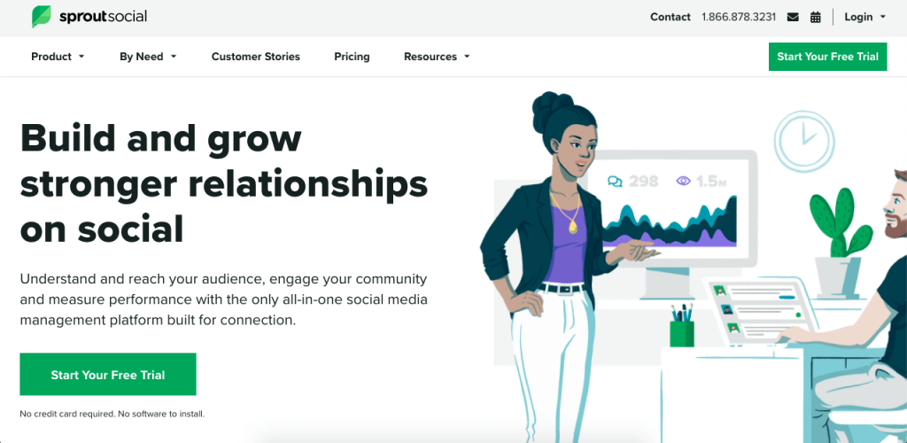 SproutSocial is a cloud-based platform that helps users stay in touch with their social media following.