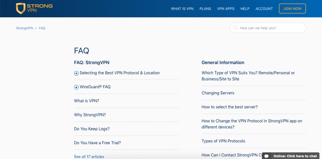 StrongVPN divides its FAQ into 4 areas, and its questions range from one-paragraph answers to fully-fledged tutorials with images and videos