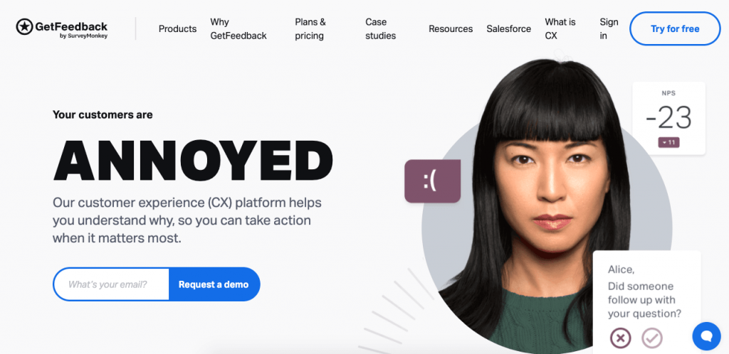 GetFeedback is a beautifully-designed tool that focuses on gathering custom experience data.