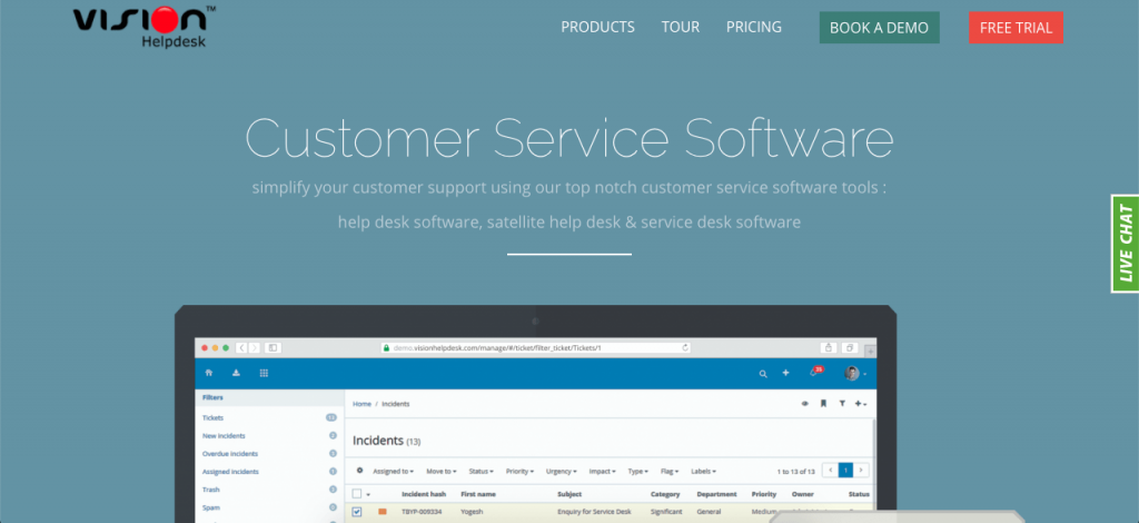 Vision Helpdesk's multi-channel ticketing software is part of its comprehensive customer service tools