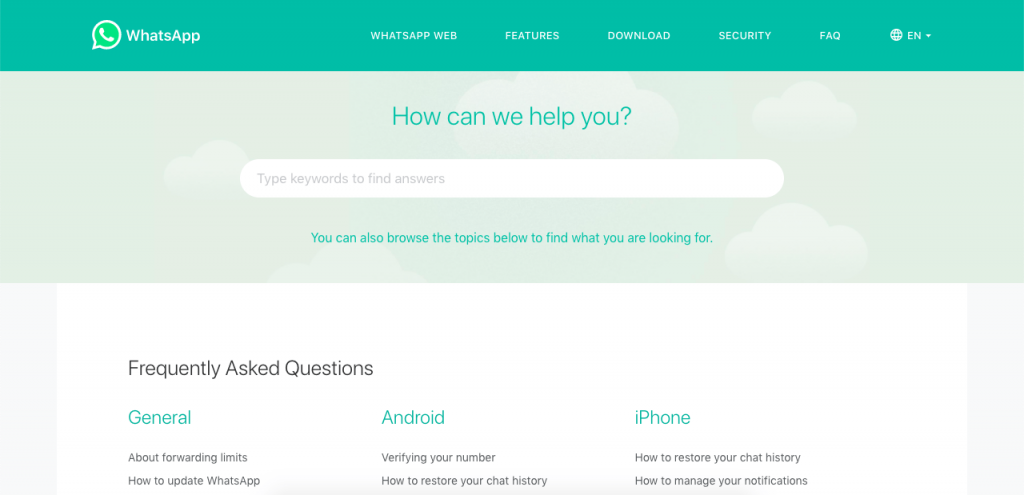 Whatsapp's FAQ page is very simple to search through and relaxing
