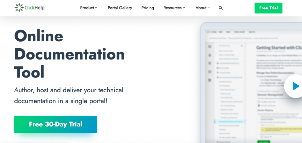ClickHelp is an online documentation tool with a great knowledge base platform.