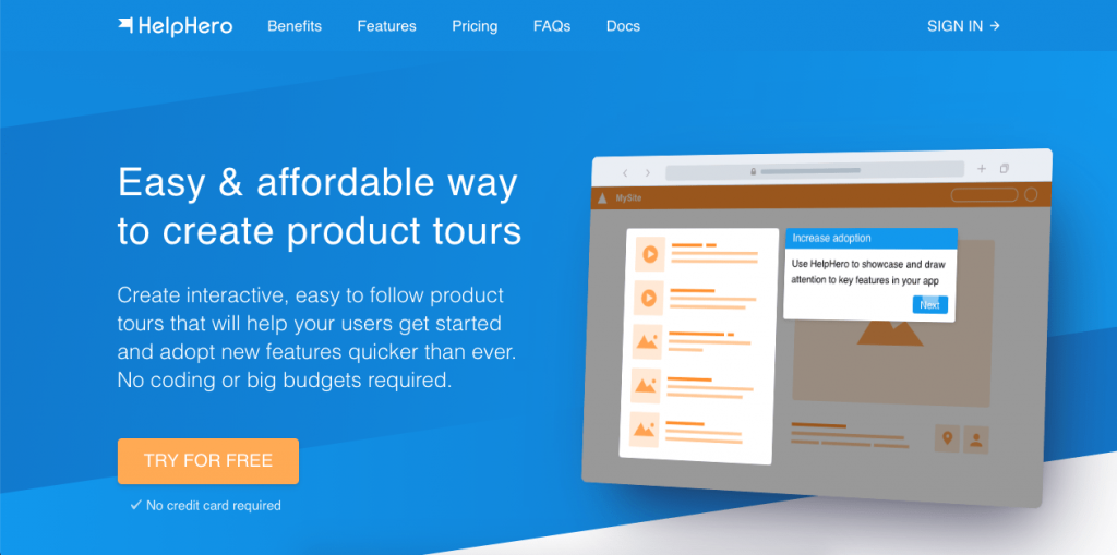 HelpHero is a powerful and affordable product tour tool.