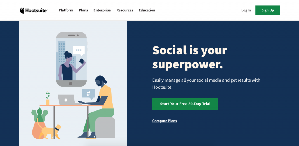 Hootsuite is a great management tool with social media capabilities that seamlessly integrates with over 25 social media platforms.