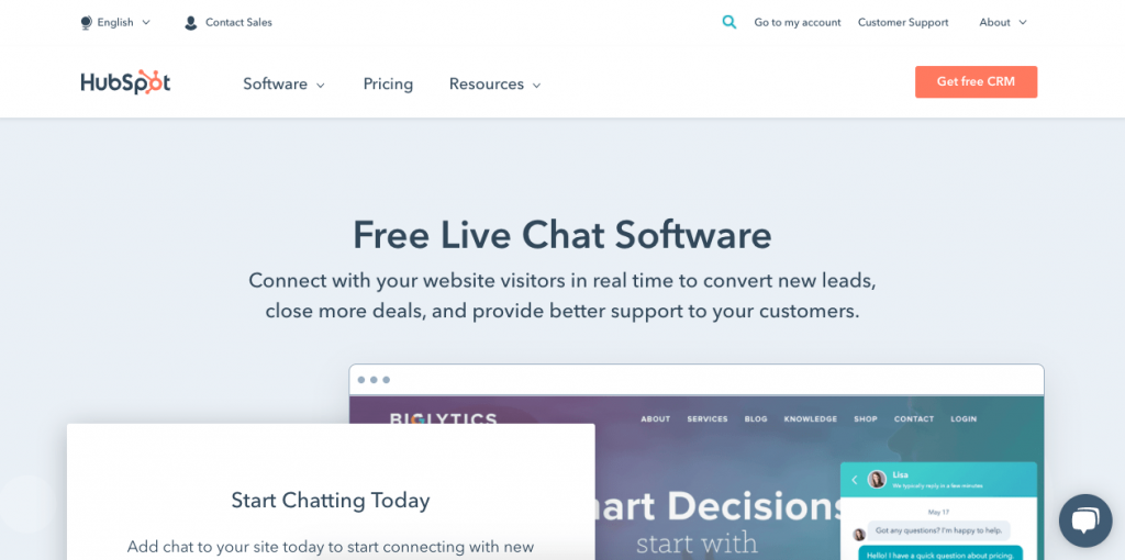 Hubspot's live chat is easy to customize and friendly for teams, consolidating all messages into a single inbox for easy reading.