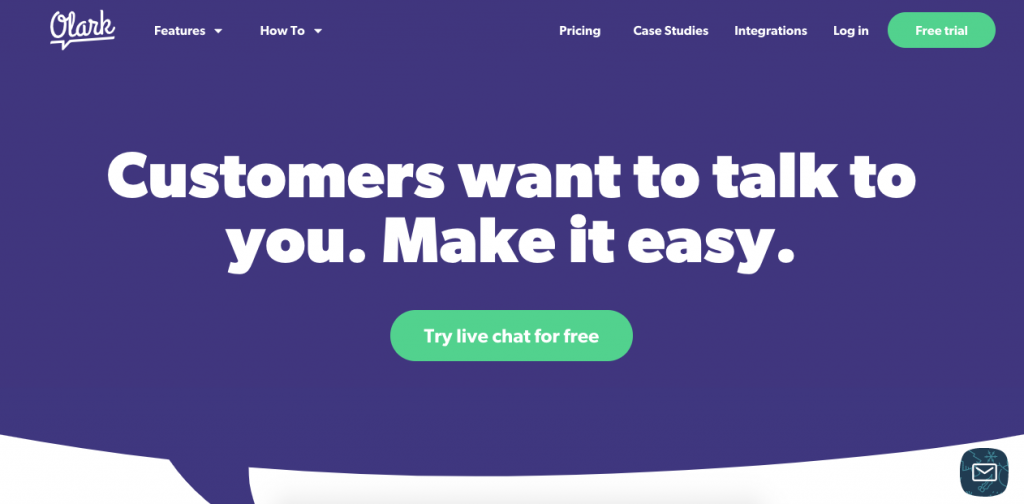 With Olark, users get an easy-to-use live chat function to connect with customers.