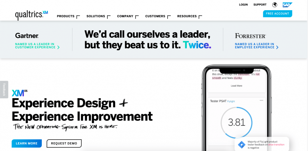 Qualtrics is an award-winning employee management platform and survey tool that's incredibly sophisticated and provides you with detailed customer experience information.