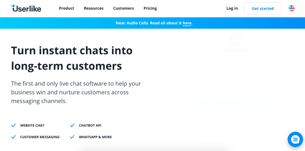 Userlike is another live chat platform with great personalization options when it comes to customer support.
