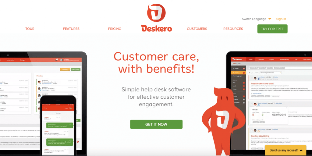 Developed by Nabra, Deskero is a cloud-based help desk management software that's a good option for all kinds of businesses, regardless of their size.