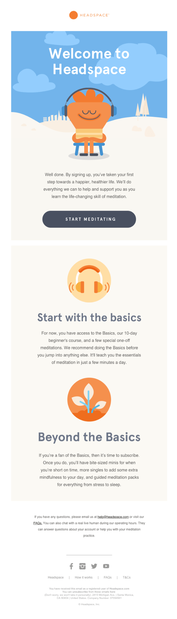 Headspace keeps things simple with one very prominent CTA that's ready to be clicked.