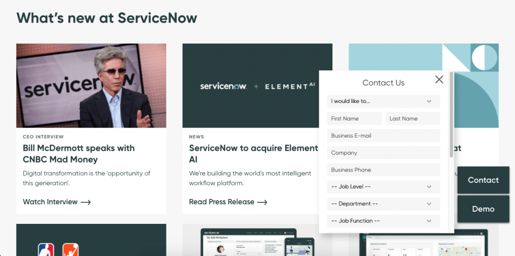ServiceNow's chatbot doesn't appear until you scroll down the page.