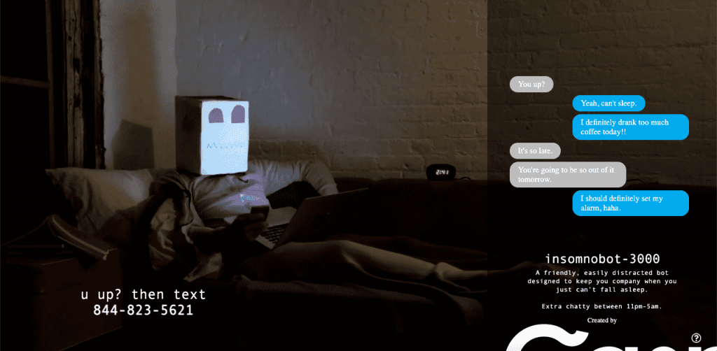 Casper, the mattress company, created a chatbot targeting insomniacs.